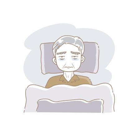 Bedridden Senior Man - Sick in Bed image