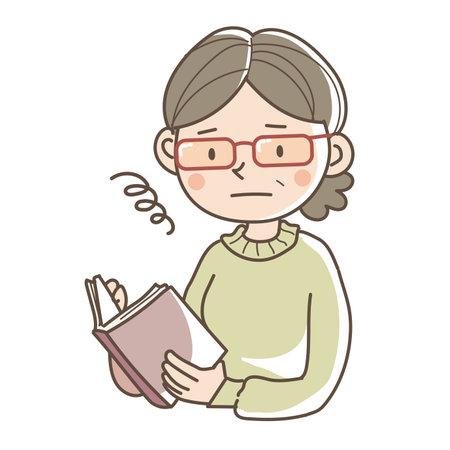 A woman wearing double reading glasses - Unique image Illustration