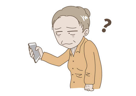 Elderly woman who does not understand mobile phone operation