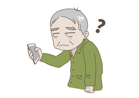 Elderly man who does not understand mobile phone operation Illustration