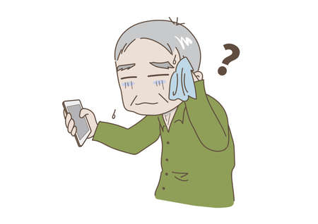Elderly man who is impatient without knowing how to operate a mobile phone