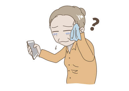 Elderly woman who is impatient without knowing how to operate a mobile phone Illustration