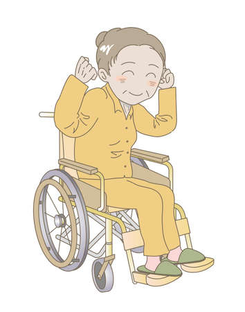 Elderly woman sitting in a wheelchair with fist pump