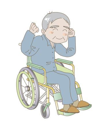 Elderly man sitting in a wheelchair with fist pump