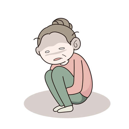 Stressed woman crouching down- vector image