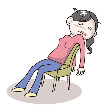 Stressed young woman sitting on chair - vector image