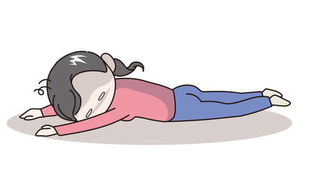 Stressed young woman lying - vector image 일러스트
