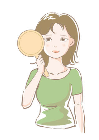 Young woman worried while looking in the mirror Ilustração