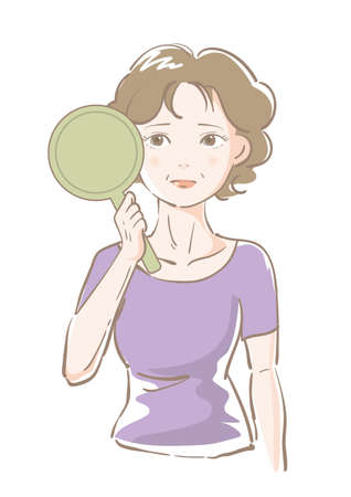 Senior woman worried while looking in the mirror