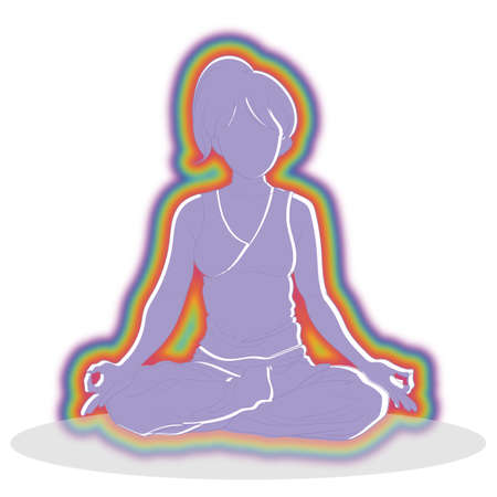 A woman who is meditation with an aura