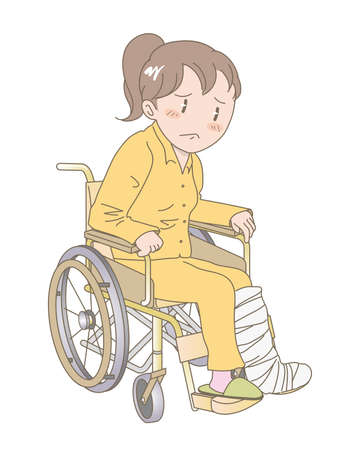A Young woman sitting in a wheelchair - Fracture of the leg image