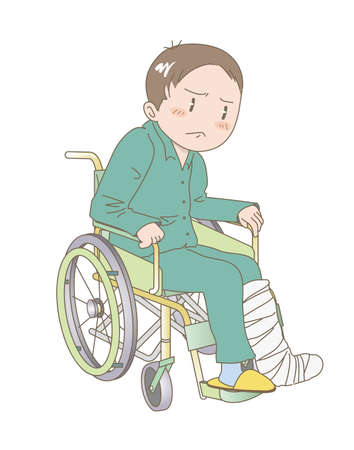 A Young man sitting in a wheelchair - Fracture of the leg image