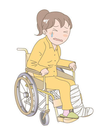 A woman sitting in a wheelchair and crying with fracture of the leg