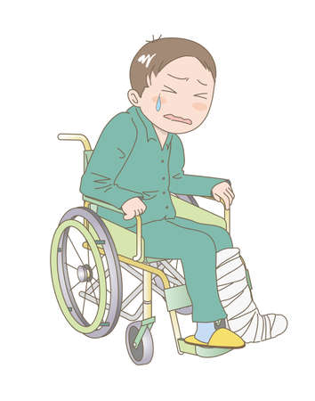 A man sitting in a wheelchair and crying with fracture of the leg 일러스트