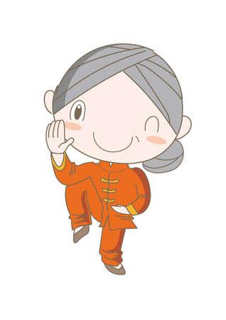 Tai Chi pose - Elderly woman  enjoying exercise