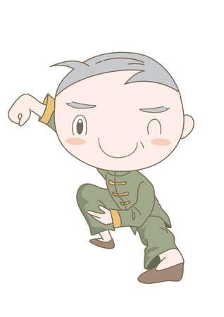 Tai Chi pose - Elderly man  enjoying exercise