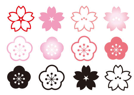 Cherry Blossoms and Plum - icon set 일러스트