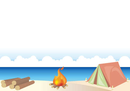 Outdoor camping frame with firewood  - Sandy beach image. Vector background material. There is a blank space.