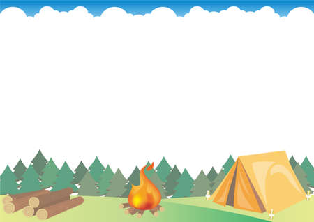 Outdoor camping frame with firewood - Forest image. Vector background material. There is a blank space.