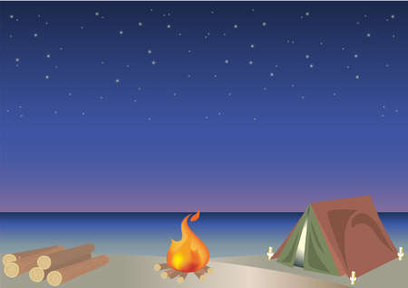 Outdoor camping frame with firewood  - Night Sandy beach image 일러스트