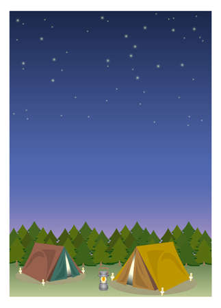 Outdoor camping frame with lanthanum - Night  Forest image