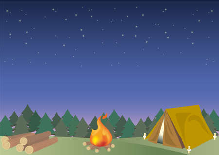 Outdoor camping frame with firewood  - Night  Forest image 일러스트