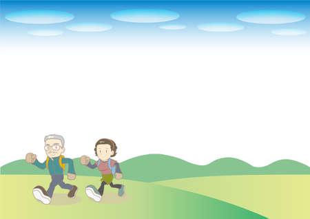 Walking Senior couple image - Outdoor leisure in nature Ilustração