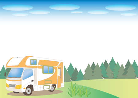Camper van and nature background - Forest