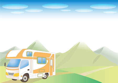 Camper van and nature background - mountain