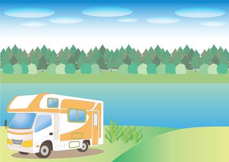 Camper van and nature background - Lake side Ilustração