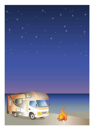 Camper van and firewood - Night Sandy beach background image. Vertical landscape illustration made of vector.