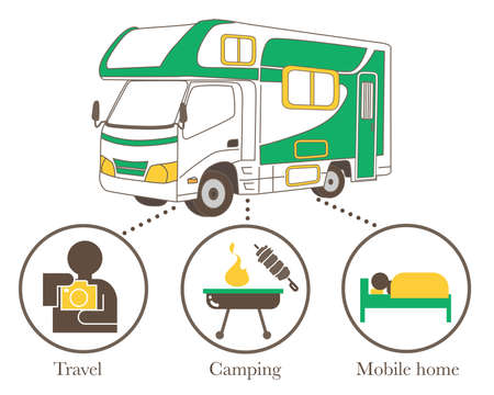 Camper van use case infographic - Vacation  image. Infographic image made of vector