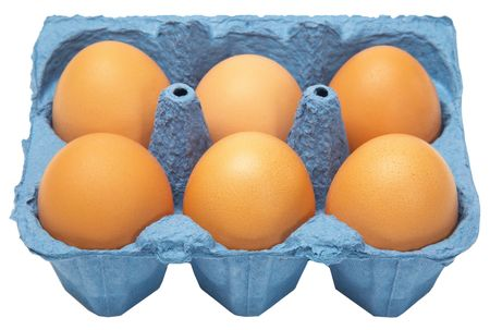 product range: A carton of six eggs isolated on white