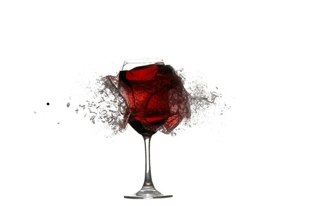 splinters: Shoot by glass with red wine