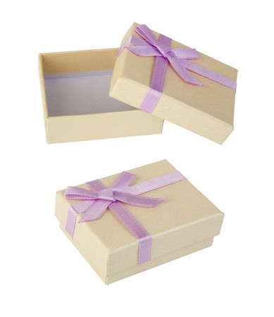 closed ribbon: Open &amp, Closed Small Gift Box With Satin Ribbon Bow isolated on a white background  Stock Photo