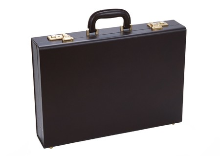 Black business briefcase isolated on white background. Material - skin.  photo