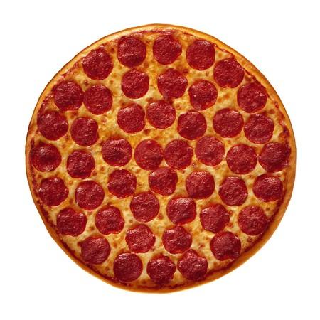 Whole Pepperoni Pizza Stock Photo