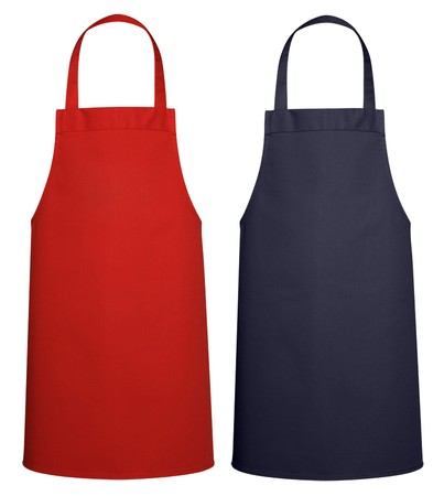 aprons: Blue and Red Kitchen Apron  Stock Photo