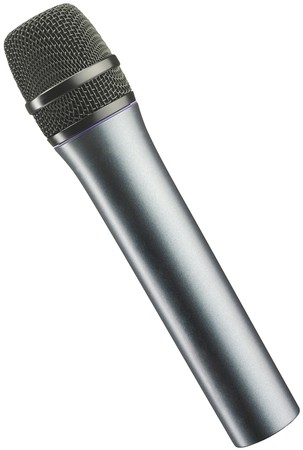 The big black microphone isolated on white background  photo