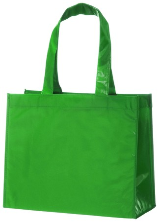 reusable: Green, reusable shopping bag isolated on white background