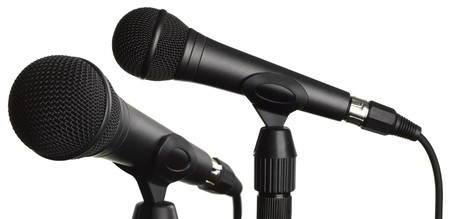 narrate: Microphones isolated on white background
