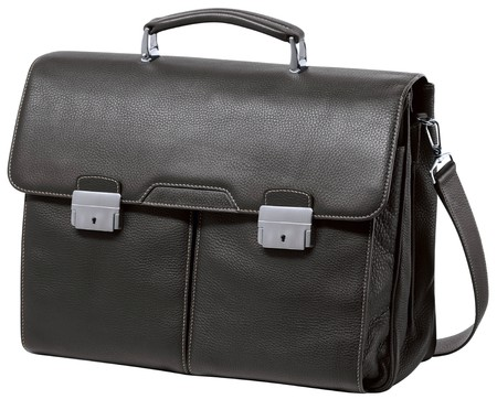 Black business briefcase isolated on white background photo