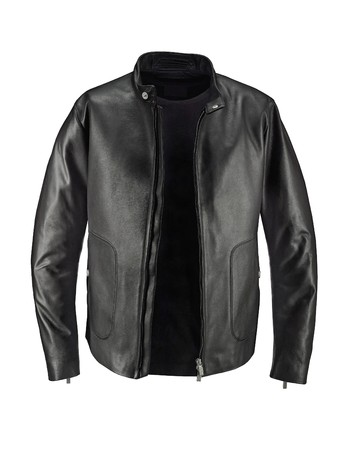 Luxury Black Leather jacket with t-shirt under, isolated on white background