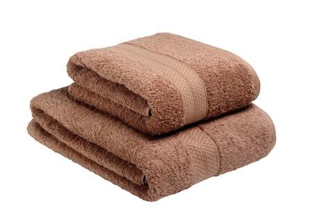 orange washcloth: Towels isolated on white background  Stock Photo