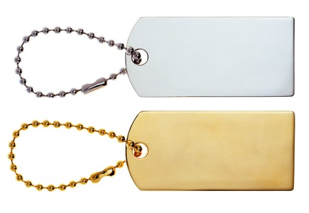 luggage pieces: Gold &amp, Silver Labels or Tags or Charm isolated