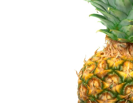 unusual angle: Close-up Pineapple isolated on the white background.