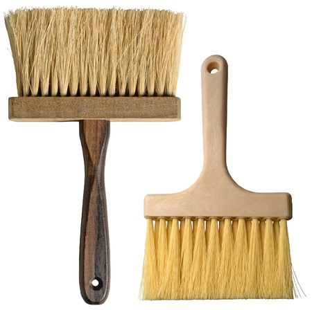 Clean Paintbrush with wooden stem isolated on white background  photo
