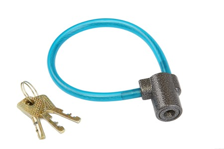 The isolate bicycle lock whis keys on a with background photo