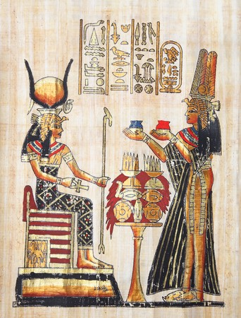 Papyrus with elements of egyptian ancient history.  Copy from Egypt series.  photo