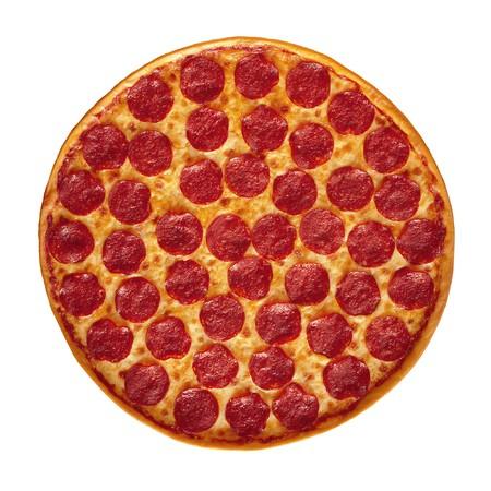 Whole Pepperoni Pizza isolated on white background